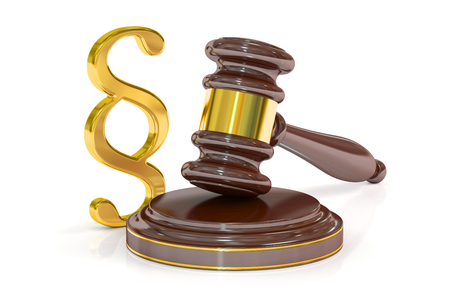 golden rule: Paragraph Law Symbol And Judge Gavel, 3D rendering isolated on white background Stock Photo