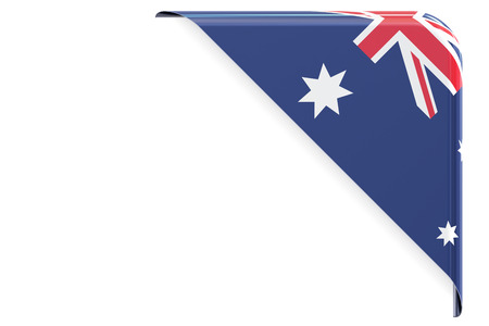 made to order: Flag of Australia. Corner, button, label. 3D rendering isolated on white background