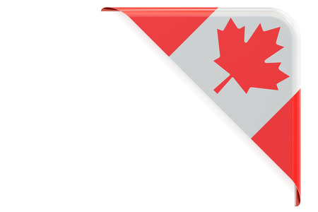 Flag of Canada. Corner, button, label. 3D rendering isolated on white background