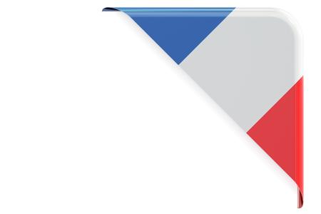 Flaga Francji. Corner, przycisk, etykieta. Renderowania 3D na białym tle