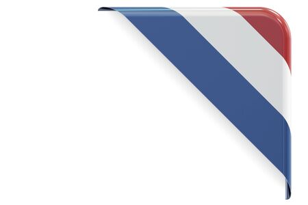 made to order: Flag of Netherlands. Corner, button, label. 3D rendering isolated on white background