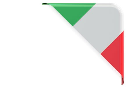 made to order: Italian flag corner, button, label. 3D rendering isolated on white background