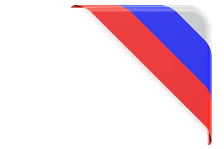 made to order: Russian flag corner, button, label. 3D rendering isolated on white background