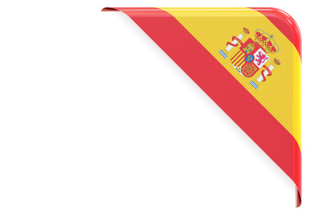 made to order: Spanish flag corner, button, label. 3D rendering isolated on white background