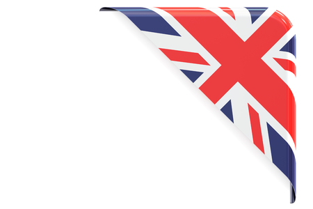 made to order: United Kingdom flag corner, button, label. 3D rendering isolated on white background