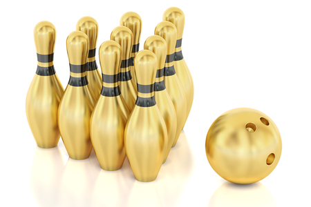 Golden Bowling, 3D rendering isolated on white background Stock Photo