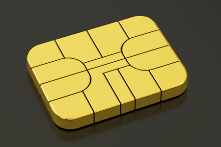 gsm: Credit Banking Card Chip or SIM card chip, 3D rendering isolated on black background Stock Photo