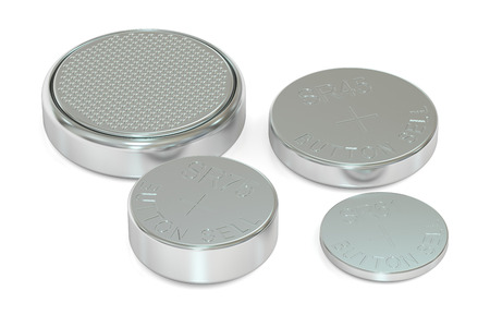 button batteries: Set of button cell batteries, 3D rendering isolated on white background