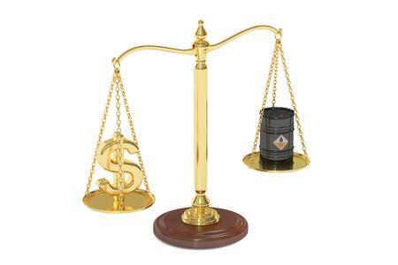 oil barrel and dollar on scales. 3D rendering