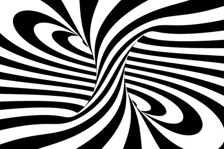 Black and white abstract spiral background, 3D rendering