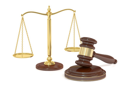 verdicts: wooden gavel and golden scales of justice, 3D rendering isolated on white background