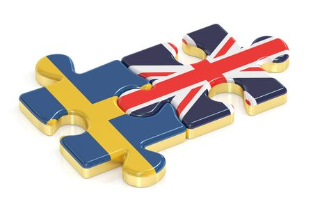 UK and Sweden puzzles from flags, 3D rendering
