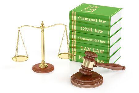autoridad: Mazo de madera, libros bajas y escamas de oro de la justicia. Concepto de justicia, representación 3D aislada en el fondo blanco Foto de archivo