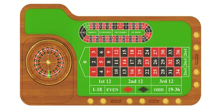 american roulette: casino table with roulette, 3D rendering isolated on white background Stock Photo