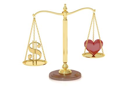 matrimony: Love or Money concept with scales, 3D rendering isolated on white background