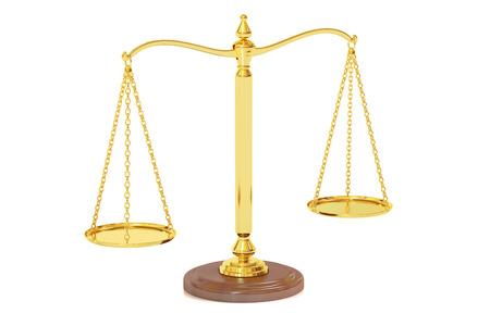equitable: Scales of Justice, 3D rendering isolated on white background