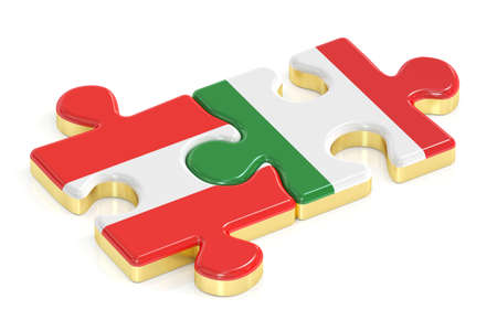 Italy and Austria puzzles from flags, 3D rendering isolated on white background