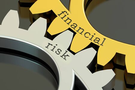 financial risk: Financial Risk concept on the gearwheels, 3D rendering Stock Photo