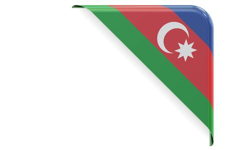 made to order: Azerbaijan flag corner, button. 3D rendering isolated on white background