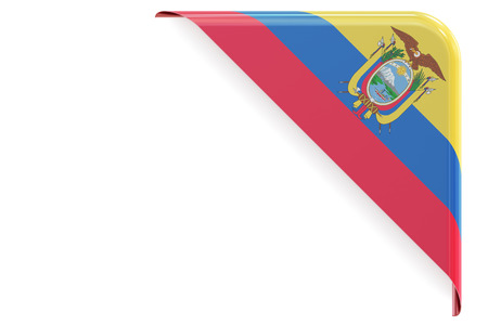 made to order: Ecuador flag corner, button. 3D rendering isolated on white background