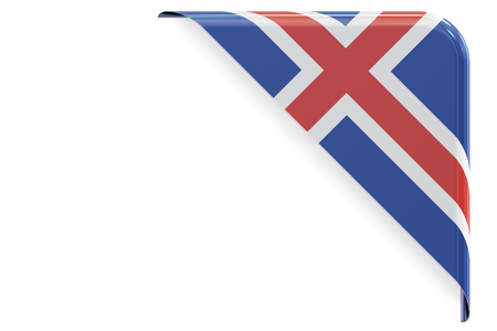 made to order: Icelandic flag corner, button. 3D rendering isolated on white background