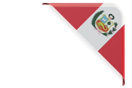 made to order: Peru flag corner, button. 3D rendering isolated on white background