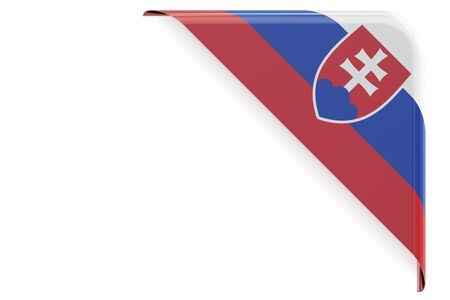 Slovakia flag corner, button. 3D rendering isolated on white background
