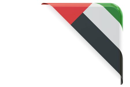 made to order: UAE flag corner, button. 3D rendering isolated on white background