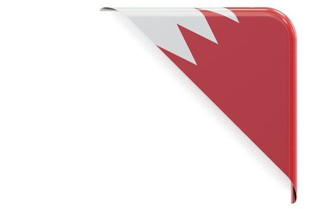 made to order: Bahrain flag corner, button, label. 3D rendering isolated on white background