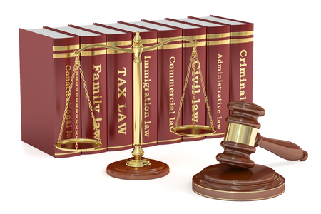 Wooden gavel, low books and golden scales of justice. Justice concept, 3D rendering isolated on white background