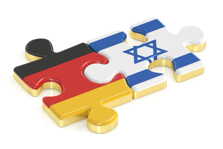 Germany and Israel puzzles from flags, 3D rendering isolated on white background Stock Photo