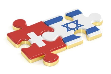 Switzerland and Israel puzzles from flags, 3D rendering isolated on white background