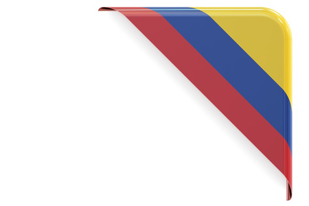 made to order: Colombian flag corner, button, label. 3D rendering isolated on white background Stock Photo