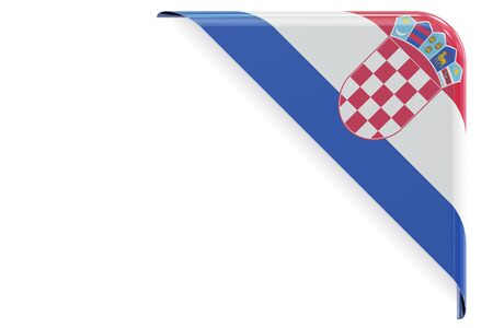 made to order: Croatian flag corner, button, label. 3D rendering isolated on white background