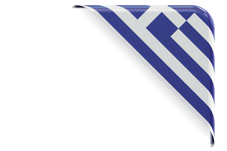 made in greece stamp: Greek flag corner, button, label. 3D rendering isolated on white background