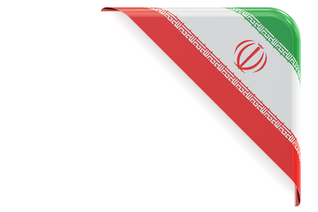 iranian: Iranian flag corner, button, label. 3D rendering isolated on white background