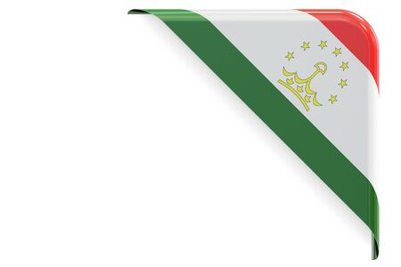 made to order: Tajikistan flag corner, button, label. 3D rendering isolated on white background