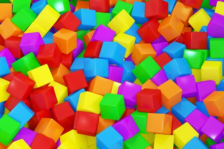 many coloured: Colorful cubes background, 3D rendering