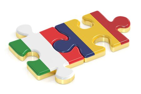Italy and Romania puzzles from flags, 3D rendering Stock Photo
