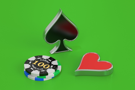 cheques: poker concept, 3D rendering isolated on green background