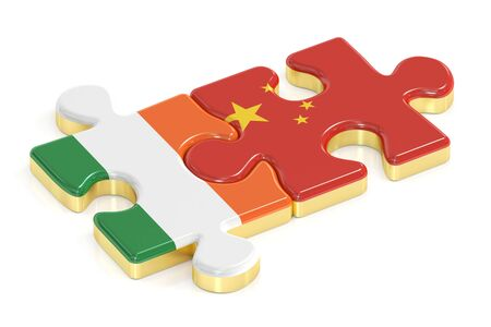 relation: Ireland and China puzzles from flags, relation concept. 3D rendering