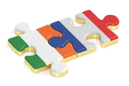 relation: Ireland and France puzzles from flags, relation concept. 3D rendering