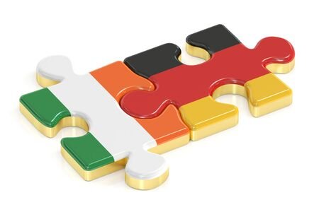 relation: Ireland and Germany puzzles from flags, relation concept. 3D rendering Stock Photo