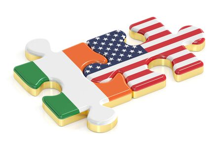 relation: USA and Ireland puzzles from flags, relation concept. 3D rendering Stock Photo
