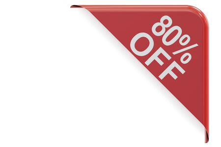 sale and discount concept, 80% off red corner. 3D rendering isolated on white background