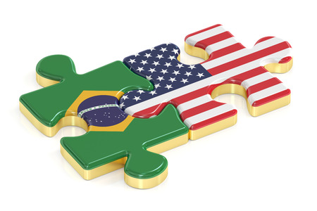 USA and Brazil puzzles from flags, 3D rendering