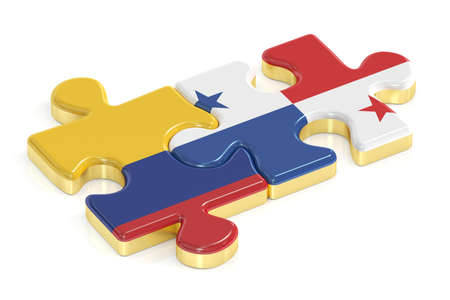 panamanian: Panama and Colombia puzzles from flags, 3D rendering