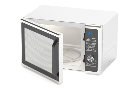 cook out: silver microwave oven, 3D rendering isolated on white background Stock Photo