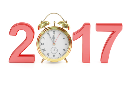clocks: Happy New Year 2017 concept with alarm clock, 3D rendering isolated on white background