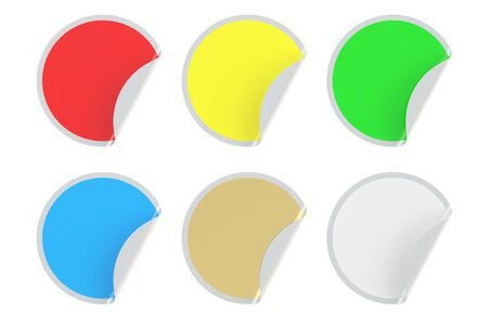 trade off: set of colored circle stickers, 3D rendering